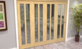 Oak Aston Glazed 4 Door Roomfold Grande (4 + 0 X 610mm Doors) Image
