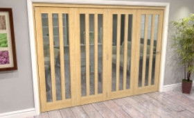 Oak Aston Glazed 4 Door Roomfold Grande (4 + 0 X 762mm Doors) Image