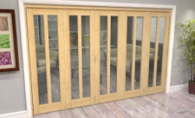 Oak Aston Glazed 5 Door Roomfold Grande (5 + 0 X 610mm Doors) Image