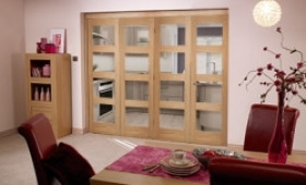 Oak Prefinished 4 Light Bifold Door ( 4 X 1