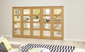 Oak Prefinished 4l Roomfold Deluxe ( 5 X 610mm Doors) Image