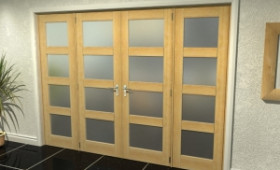 Oak Unfinished Shaker 4l Frosted Room Divider Range Image