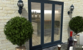 Part Q 1800mm Grey Aluminium Bifold Door - Climadoor Image