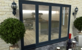 Part Q 3000mm ( 3 + 1 ) Grey Aluminium Bifold Doors - Climadoor Image