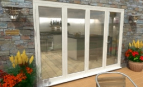 Part Q 3000mm ( 3 + 1 ) White Aluminium Bifold Doors - Climadoor Image