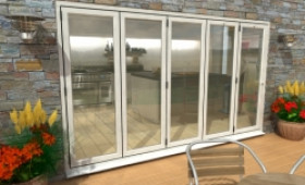 Part Q 3600mm ( 5 + 0 ) White Aluminium Bifold Doors - Climadoor Image