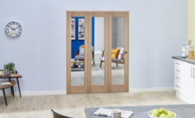 Slimline Glazed Oak Prefinished Roomfold Deluxe ( 3 X 419mm Doors ) Image