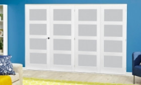 White 4l Frosted Roomfold Deluxe ( 4 X 762mm Doors ) Image