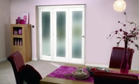 "White Bifold 3 Door System ( 3 X 27"" Doors ) Frosted. Image"