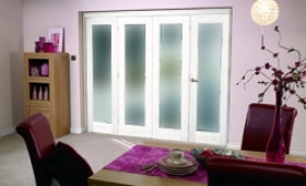 "White Bifold 4 Door System ( 4 X 27"" Doors ) Frosted. Image"