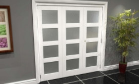 White Frosted 4l Roomfold Grande 1800mm (6ft) 2 + 1 Set Image