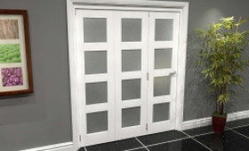White Frosted 4l Roomfold Grande 1800mm (6ft) 3 + 0 Set Image