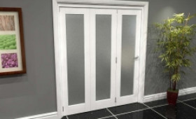 White P10 Frosted Roomfold Grande 1800mm (6ft) 3 + 0 Set Image