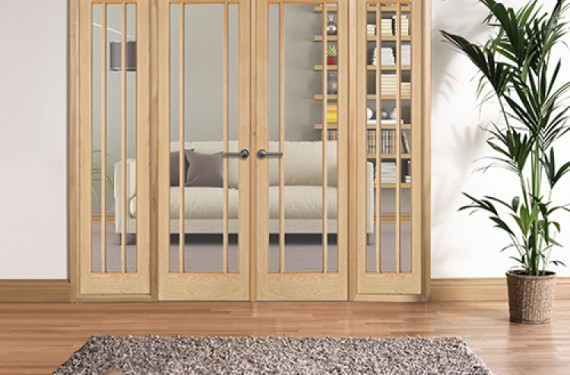 W8 Lincoln Oak Internal Room Divider Set With Sidelights