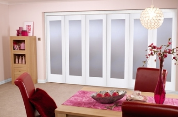 White Bifold 6 Door System ( 5 + 1 X 27