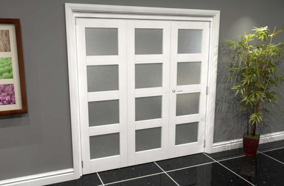 White Frosted 4l Roomfold Grande 1800mm (6ft) 2 + 1 Set