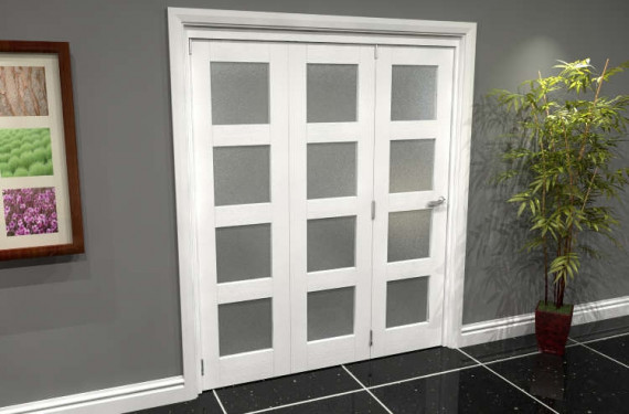 White Frosted 4l Roomfold Grande 1800mm (6ft) 3 + 0 Set