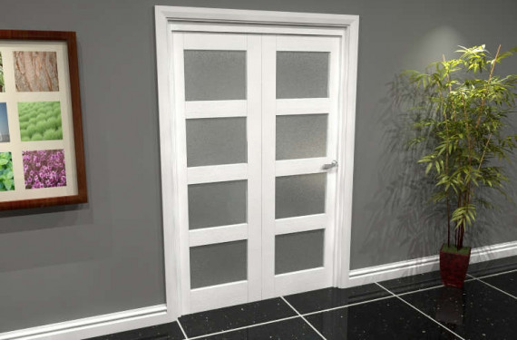 White Frosted 4l Roomfold Grande (2 + 0 X 610mm Doors)