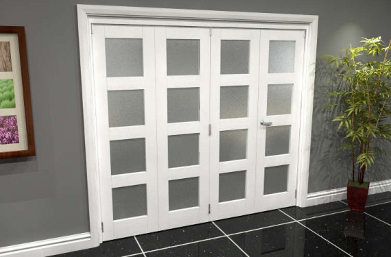 White Frosted 4l Roomfold Grande 2400mm (8ft) 3 + 1 Set