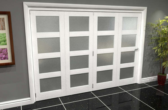 White Frosted 4l Roomfold Grande (4 + 0 X 686mm Doors)