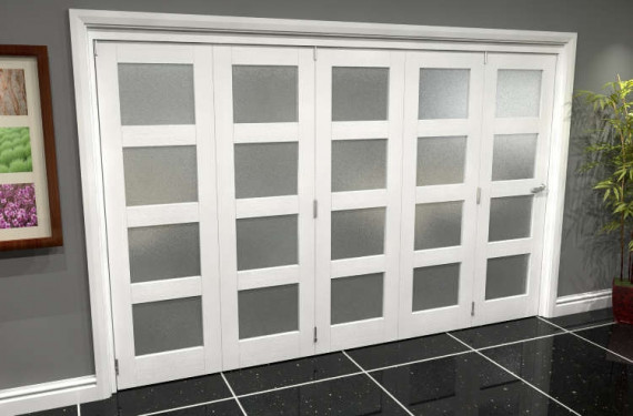 White Frosted 4l Roomfold Grande (5 + 0 X 610mm Doors)