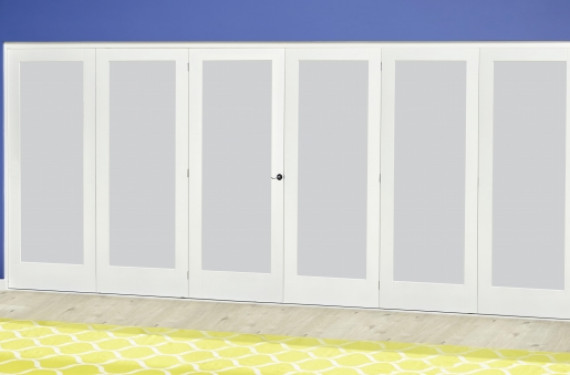 White P10 Frosted Roomfold Deluxe ( 3 + 3 X 610mm Doors )