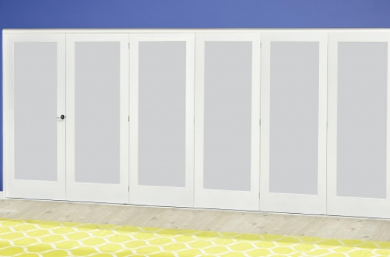 White P10 Frosted Roomfold Deluxe ( 5 + 1 X 610mm Doors )