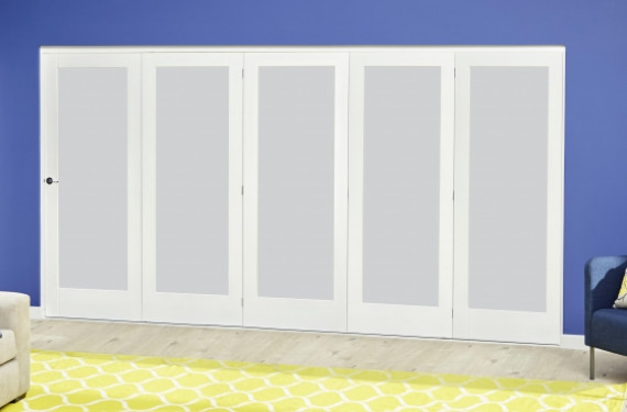 White P10 Frosted Roomfold Deluxe ( 5 X 610mm Doors )