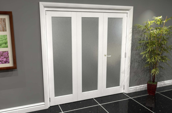 White P10 Frosted Roomfold Grande 1800mm (6ft) 2 + 1 Set