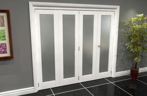 White P10 Frosted Roomfold Grande 2400mm (8ft) 3 + 1 Set