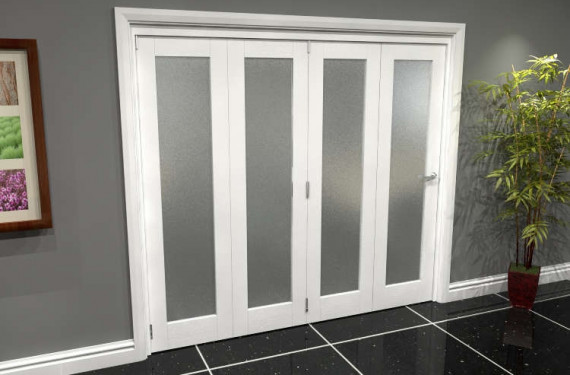 White P10 Frosted Roomfold Grande 2400mm (8ft) 4 + 0 Set