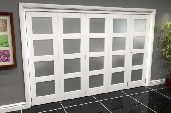 White P10 Frosted Roomfold Grande (4 + 1 X 762mm Doors)