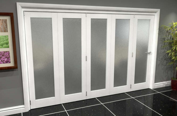 White P10 Frosted Roomfold Grande (5 + 0 X 610mm Doors)