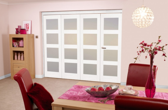 White Shaker 4l Bifold 4 Door 2400mm Set